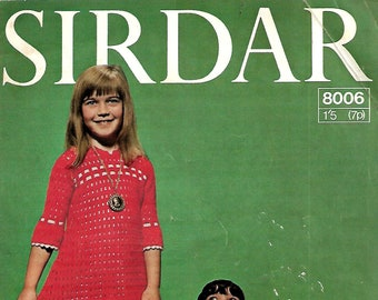 SIRDAR 8006 Baby/Child's Dress Vintage Crochet Pattern PDF Instant Download
