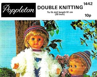 POPPLETON 1442 Vintage Doll Knitting Pattern Instant Download