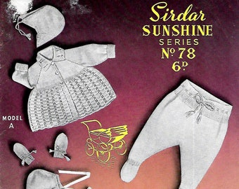 SIRDAR NO.78 Original 1960's Baby Pram Set Vintage Knitting Pattern
