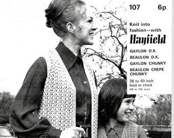 HAYFIELD 107 Ladies/Girls Original 1960's Vintage Knitting Pattern Instant Download