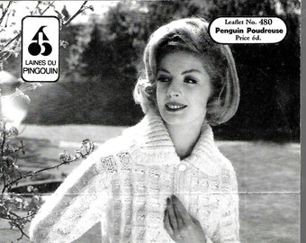 PINGOUIN 480 1960's Ladies Jacket Original Vintage Knitting Pattern