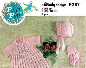 PETER PAN P287 Baby's Layette Original 1970's Vintage Knitting Pattern PDF Instant Download