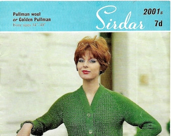 SIRDAR 2001 Lady's Jacket Original 1960's Vintage Knitting Pattern