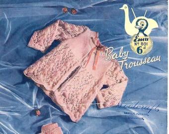 EMU 801 Baby Trousseau Vintage Knitting Pattern PDF Instant Download