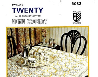 TWILLEYS 6082 Home Crochet Tablecloth Vintage Crochet Pattern PDF Instant Download