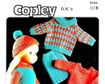 COPLEY 9145 Vintage Doll Outfit Knitting Pattern PDF Instant Download