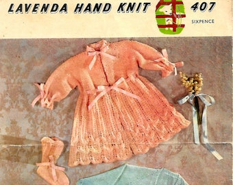 LAVENDA 407 Vintage Baby Knitting Pattern Instant Download!