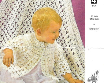 Emu 8380 Vintage Crochet Baby Dress and Jacket Pattern