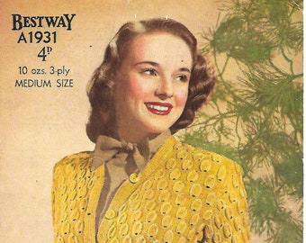 4c4ed4d8b61428 BESTWAY A1931 Ladies Pod-Stitch Cardigan Original 1940 s Knitting Pattern