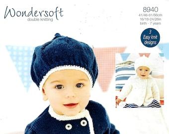 STYLECRAFT 8940 Baby Coat & Hat Knitting Pattern PDF Instant Download
