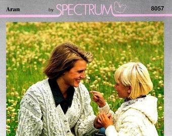 SPECTRUM 8057 Ladies & Child.s Aran Cardigan and Hooded Jacket Original Vintage Knitting Pattern