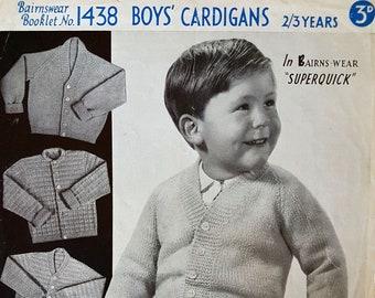 BAIRNSWEAR 1438 Boy's Cardigans Original 1960's Vintage Knitting Pattern