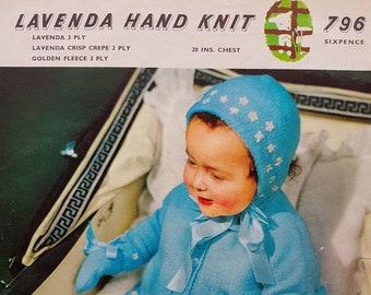 LAVENDA 796 Vintage Baby Knitting Pattern Instant Download