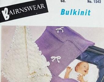 BAIRNSWEAR 1542 Baby Pram Covers Original Vintage Knitting Pattern