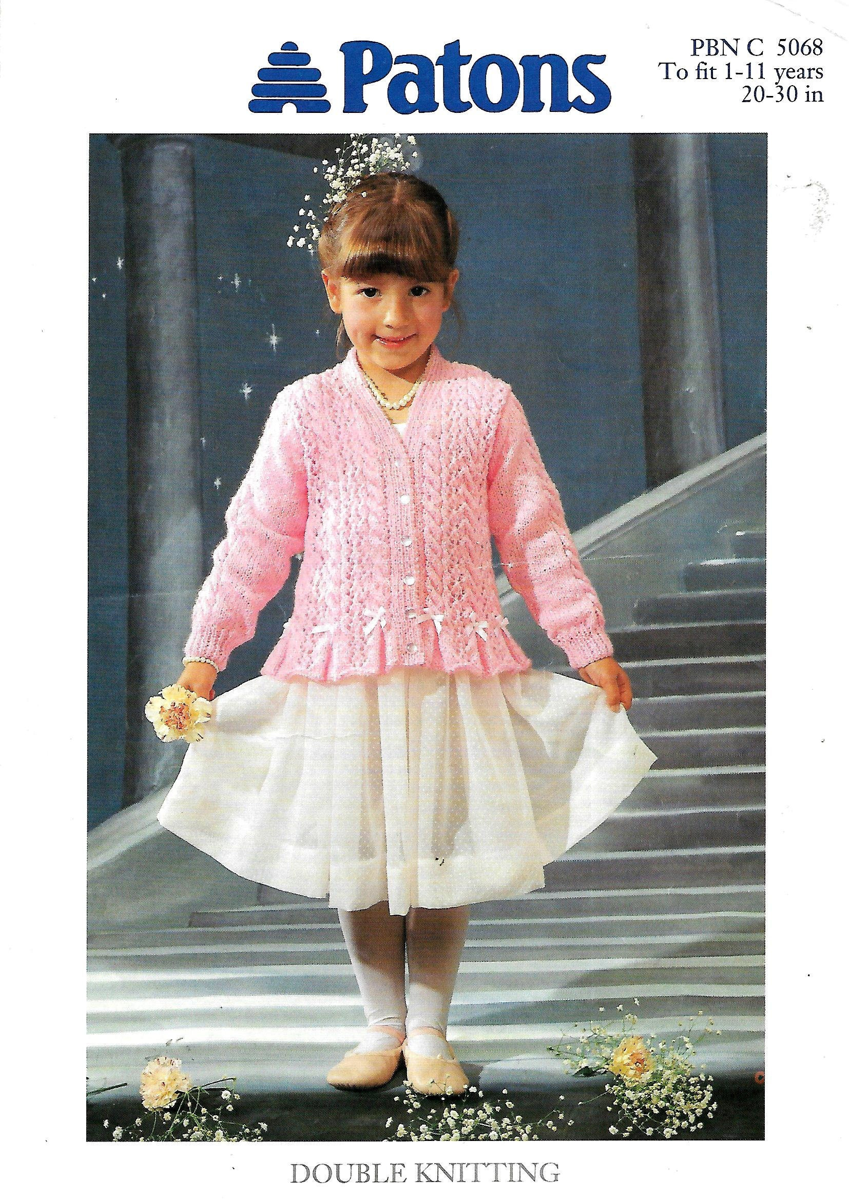 c9699d0e08eb PATONS 5068 Baby or Girl s Pretty Lace   Cable Cardigan