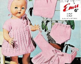 EMU 8014 Vintage Doll Knitting Pattern Instant Download