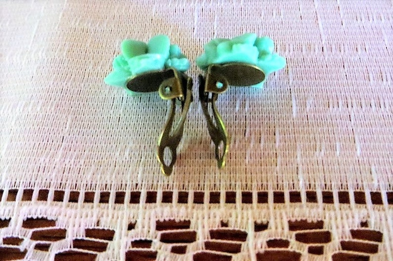 on sale green Clip-on earrings Sale 15/% lucite green posies green flowers clip 16mm gift idea gift for her