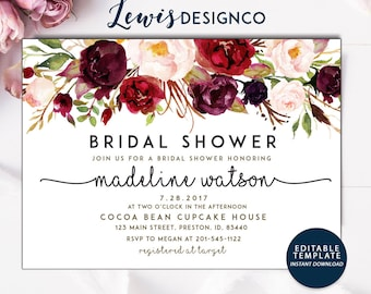 fall bridal shower invitation watercolor bridal invite floral bridal shower card instant digital download pdf flower bride diy do