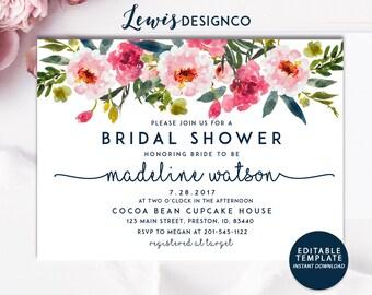 Floral Bridal Shower Invitation | INSTANT DOWNLOAD file pdf DIY | Bride Wedding Invite Card | Floral Watercolor | Printable Invitation