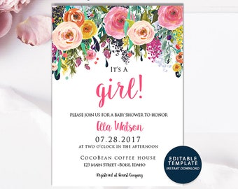 Pink Baby Girl Shower Invitation, girl baby shower invite, baby shower, floral baby shower, watercolor baby shower invitation, Download DIY
