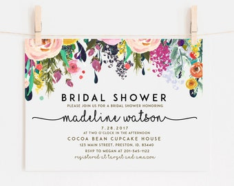 Bridal Shower Invitation Template, Floral Bridal Invite, Spring Bridal Shower Card, Instant Download, DIY Editable Invitation, LDC-SUB