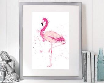 Watercolor Flamingo Painting, Wall Art Print Giclee - 16x20 & 4x5, Tropical Pink Flamingo,  Bird Home Decor, Instant Download DIY Printable