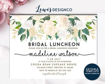 bridal luncheon invitation floral bridal shower invite wedding luncheon editable template white gold floral invitation bridal brunch