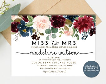fall bridal shower invitation miss to mrs autumn bridal shower invite editable template instant download burgundy navy rose gold