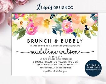 Brunch and Bubbly Spring Floral Bridal Shower Invitation, Bridal Brunch, Instant Download, PDF Flower Card Invite, Printable File