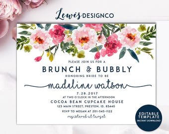 INSTANT DOWNLOAD DIY | Brunch and Bubbly Invitation | Bridal Shower Invite | Watercolor Floral Card | Champagne Party Printable Download pdf