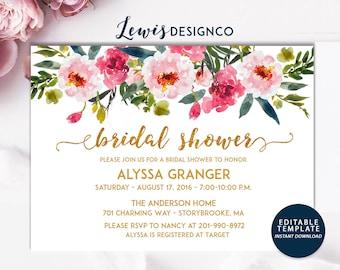 Floral Bridal Shower Invitation, Gold Bridal Shower Invite, Wedding Card, Editable Template, Pink Gold Teal Floral, Instant Download