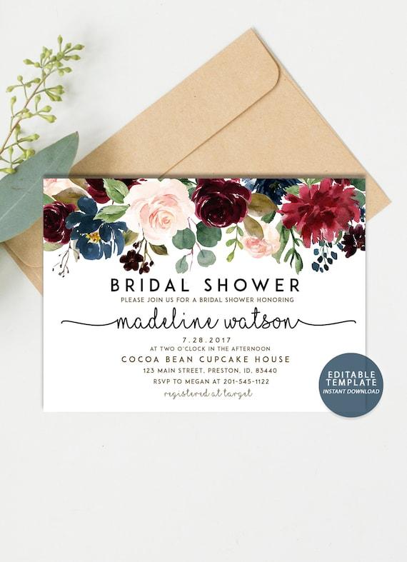 6ef674bd69e5 Fall Bridal Shower Invitation Autumn Floral Bridal shower
