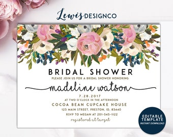 INSTANT DOWNLOAD DIY | Watercolor Floral Bridal Shower Invitation | Party Invite | Wedding Editable Template | Printable Card pdf file