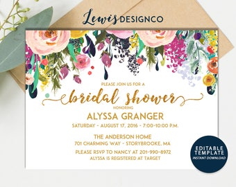 INSTANT DOWNLOAD DIY | Watercolor Gold Foil Floral Bridal Shower Invitation | Bridal Shower Luncheon | Bridal Shower INvite