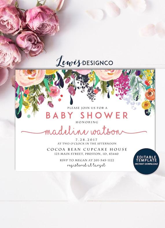 Instant download diy pink baby girl shower invitation girl etsy image 0 filmwisefo