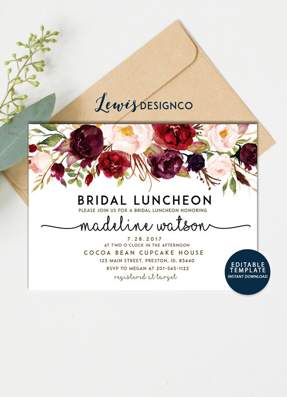 Fall Bridal Luncheon Invitation Autumn Floral Bridal Shower Etsy