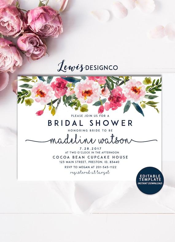 Floral bridal shower invitation instant download file pdf etsy image 0 filmwisefo
