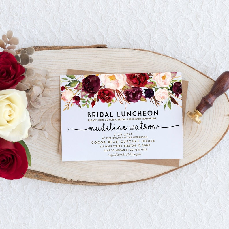 26944852a87c Fall Bridal Luncheon Invitation Autumn Floral Bridal Shower