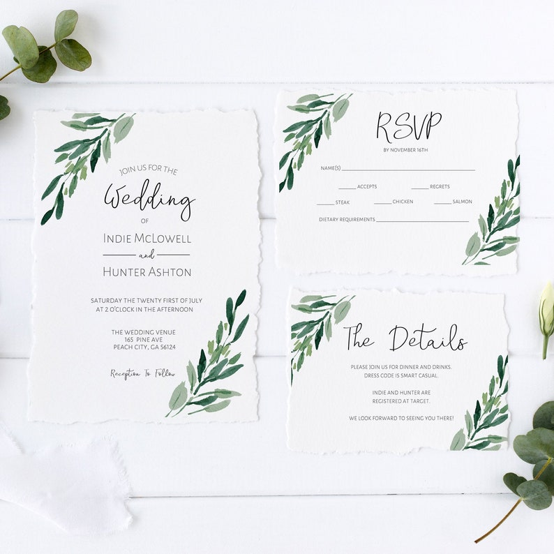 Greenery Wedding Invitation Suite Template Details Rsvp Card Minimalist Wedding Invitation Printable Instant Download Edit Eucalyptus