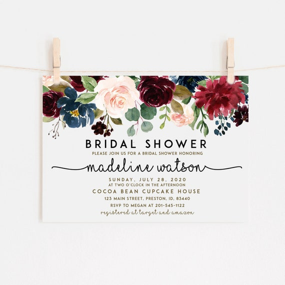 Fall Bridal Shower Invitation Autumn Floral Bridal Shower Invite Shower Card Instant Download Diy Printable Editable Card Wedding Ldc Bur
