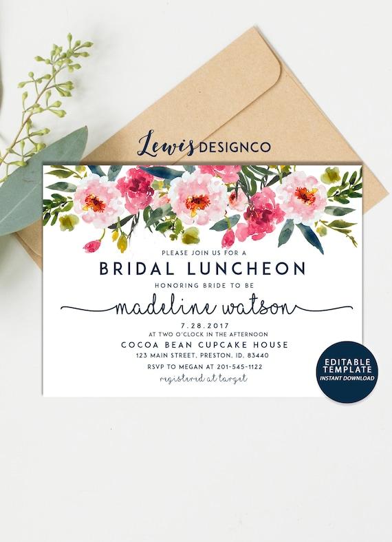 Bridal Luncheon Invitation Floral Bridal Shower Invite Etsy