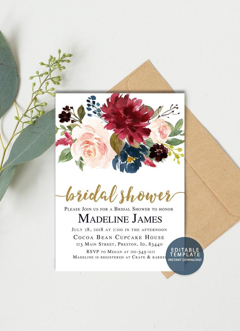 c02299c0ac61 Autumn Bridal Shower Invitation Watercolor Floral Fall Bridal