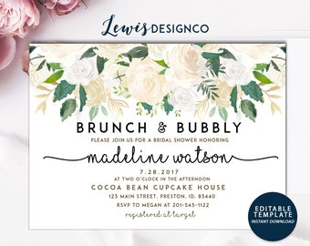 Brunch and Bubbly Floral Bridal Shower Invitation | Instant Download | PDF Flower Card Invite | Printable File | Wedding Card White Gold
