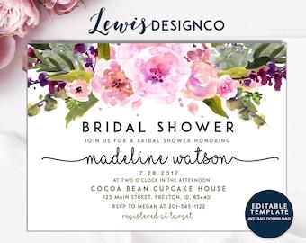 Bridal Shower Invitation | Editable Template Printable Card | Watercolor Purple Floral Bridal Invite | Instant Download DIY | Wedding Shower