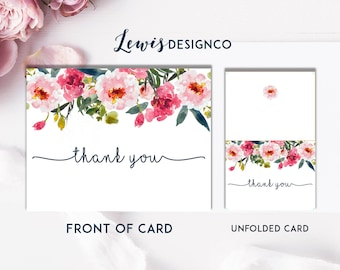 Floral Watercolor Thank You Card | Bridal Shower Thank You | Folded A2 Card | Printable PDF File Instant Download