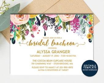 INSTANT DOWNLOAD DIY | Watercolor Gold Foil Floral Bridal ShowerLuncheon Invitation | Bridal Shower Luncheon Invite | Digital pdf
