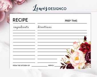 Bridal Shower Recipe Card Insert | Cream Maroon Green | Instant Download Party Game | Winter Floral Bridal Shower Invitation