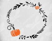 Fall Wreath svg, Pumpkin and Mum, Cut Files For Cricut and Silhouette, Printable png, Instant Download