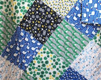 Green Baby Quilt- Green Toddler Quilt-Blue Green Nursery- Green Blue Quilt- Green Nursery Bedding- Organic Toddler Bedding-Homemade Quilt