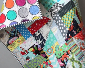 Modern Baby Quilt- Stroller Quilt- Scrappy Quilt- Homemade Baby Quilt- One of a kind Quilt- Crazy Quilt- Quirky Baby Gift-Sensory Baby Gift